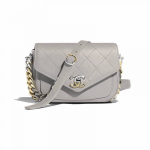 Chanel Gray Calfskin with Two-Tone Hardware Mini Flap Bag