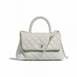Chanel Gray Grained Calfskin Coco Handle Mini Bag