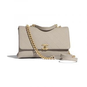 Chanel Gray Grained Calfskin Medium Flap Bag