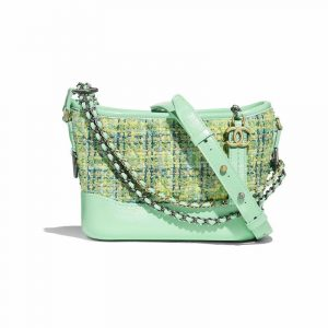 Chanel Green Tweed:Calfskin Gabrielle Small Hobo Bag