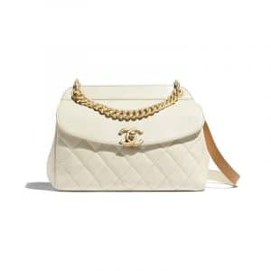 Chanel Ivory Quilted Lambskin Flap Bag