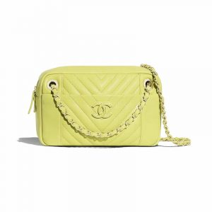 Chanel Light Green Chevron Calfskin Camera Case Bag