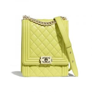 Chanel Light Green North:South Boy Flap Bag
