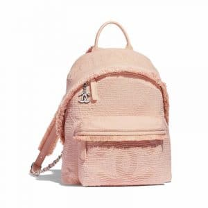 Chanel Light Pink Mixed Fibers Backpack Bag