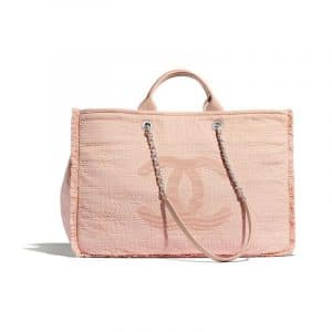 Chanel Light Pink Mixed Fibers Medium Shopping Bag
