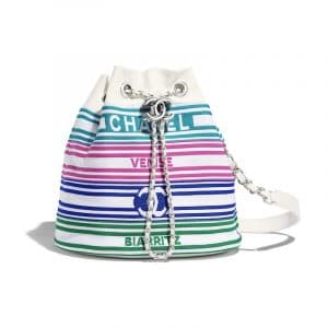 Chanel Multicolor:White Venise Biarritz Drawstring Bag