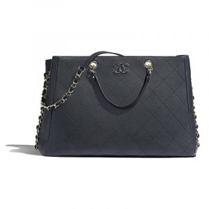 Chanel Navy Blue Bullskin Large Shopping Bag