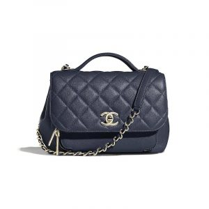Chanel Navy Blue Business Affinity Small Top Handle Bag