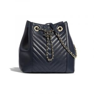 Chanel Navy Blue Chevron Calfskin Drawstring Bag