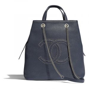 Chanel Navy Blue Grained Calfskin with Eyelets Large Shopping Bag