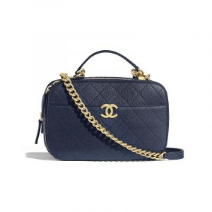 Chanel Navy Blue Quilted Grained Calfskin Camera Case Bag