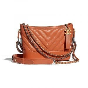 Chanel Orange Chevron Gabrielle Small Hobo Bag