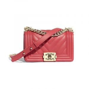 Chanel Pink Chevron Boy Chanel Small Flap Bag