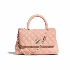 Chanel Pink Grained Calfskin Coco Handle Mini Bag