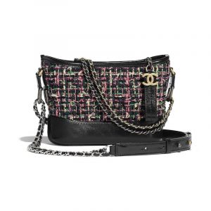 Chanel Pink:Navy Blue Tweed:Calfskin Gabrielle Small Hobo Bag