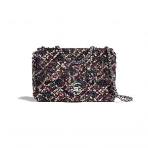 Chanel Pink:Navy Blue:Green Sequins:Metallic Lambskin Flap Bag