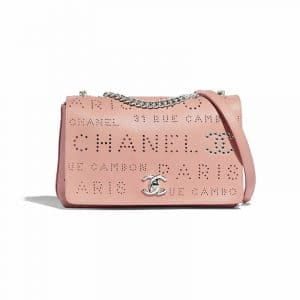Chanel Pink:White Calfskin Eyelet Flap Bag