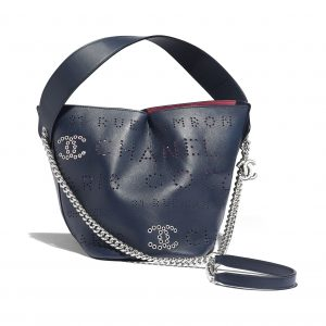 Chanel Pink:White:Navy Blue Calfskin Eyelet Drawstring Bag