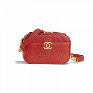 Chanel Red Grained Calfskin Waist Bag