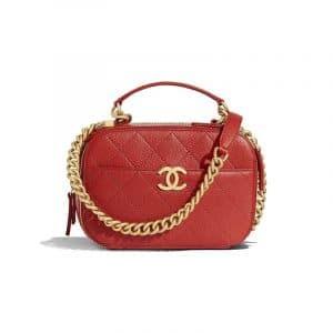 Chanel Red Quilted Grained Calfskin Small Camera Case Bag
