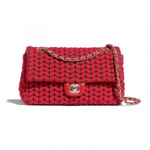 Chanel Red:Blue Wool:Calfskin Flap Bag