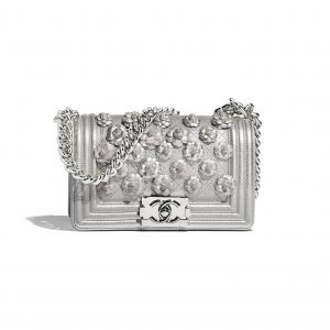 Chanel Silver Camellia Embroidered Metallic Grained Calfskin Boy Chanel Small Flap Bag