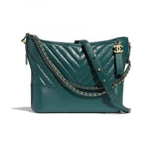 Chanel Turquoise Chevron Gabrielle Hobo Bag