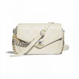 Chanel White Calfskin with Two-Tone Hardware Flap Bag