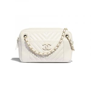 Chanel White Chevron Calfskin Camera Case Bag