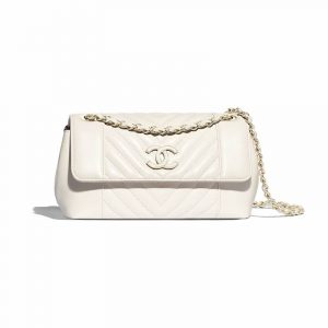 Chanel White Chevron Calfskin Flap Bag