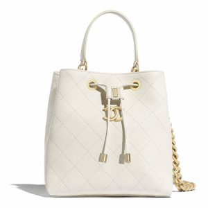Chanel White Grained Calfskin Drawstring Bag