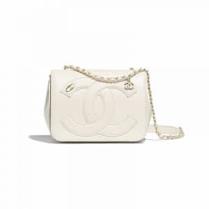 Chanel White Lambskin CC Flap Bag