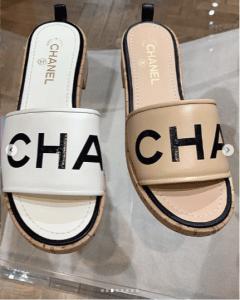 Chanel White and Beige Logo Slides