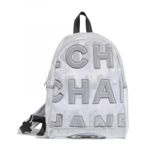 Chanel White:Black Embossed Nylon Backpack Bag