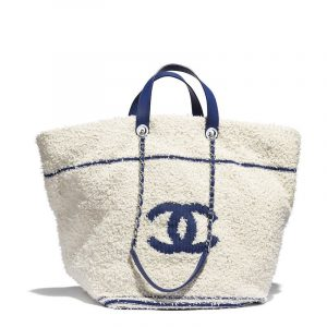 Chanel White:Blue Cotton Large Shopping Bag