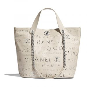 Chanel White:Green:Beige Calfskin Eyelet Large Shopping Bag