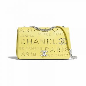 Chanel White:Green:Yellow Calfskin Eyelet Flap Bag