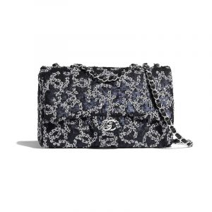 Chanel White:Navy Blue Sequins:Lambskin Medium Flap Bag