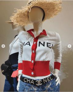 Chanel White/Red Logo Cardigan