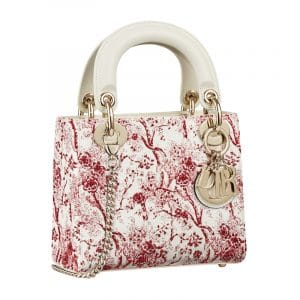Dior Red/White Hortensia Mini Lady Dior Bag