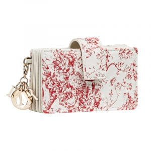 Dior Red/White Hortensia Lady Dior Card Holder
