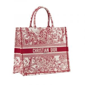 Dior Red/White Hydrangea Book Tote Bag