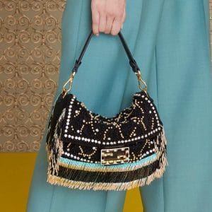 Fendi Black Beaded Baguette Bag - Pre-Fall 2019