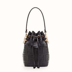 Fendi Black Embossed FF Mon Tresor Mini Bucket Bag