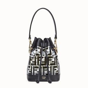 Fendi Black PU Logo Mon Tresor Mini Bucket Bag