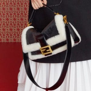 Fendi Black/White Leather/Fur Baguette Bag - Pre-Fall 2019