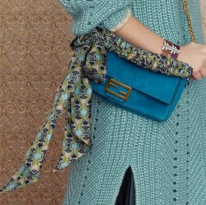 Fendi Blue Suede Baguette Bag - Pre-Fall 2019