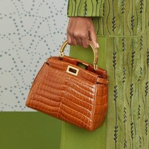Fendi Brown Crocodile Peekaboo Mini Bag - Pre-Fall 2019