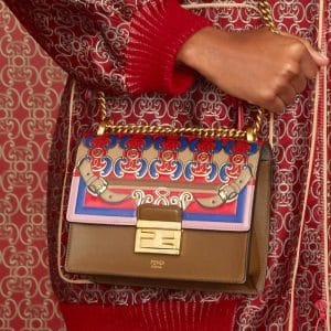 Fendi Brown Multicolor Printed Flap Bag - Pre-Fall 2019
