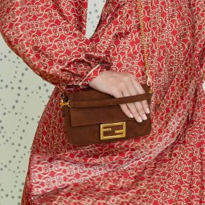 Fendi Brown Suede Mini Baguette Bag - Pre-Fall 2019